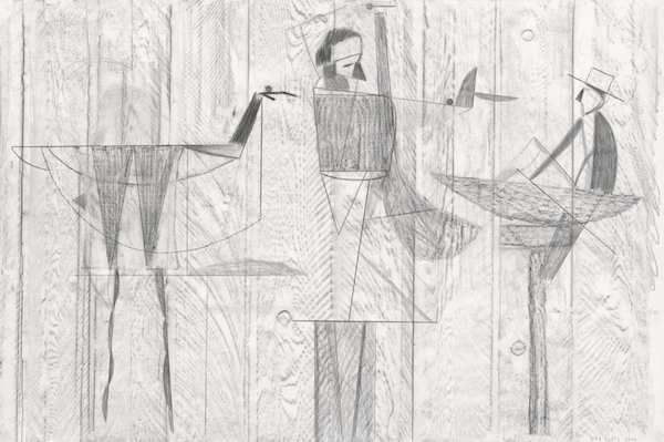 Dirk Zoete - Sketches on a wooden wall, 2014