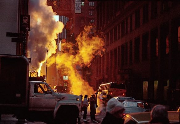 Frank Horvat - New York, Midtown, near Pennsylvania Station, Steam in the Morning Sun, 1984