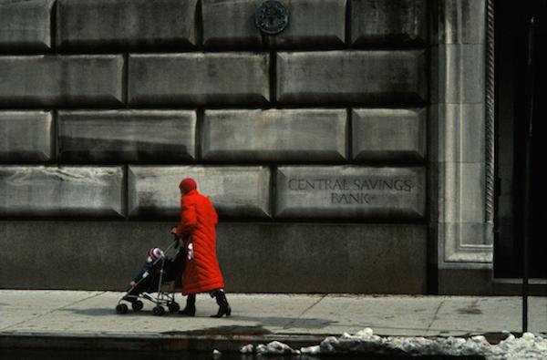 Frank Horvat - New York, Red Coat in Front of Upper West Side Building, 1984