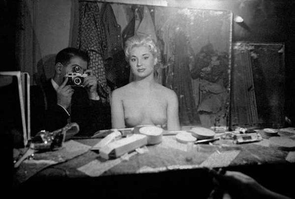 Frank Horvat - Paris, Le Sphynx (self-portrait with stripper) (c), 1956