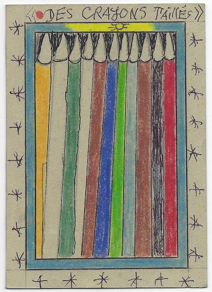 Frédéric Bruly Bouabré - Des crayons taillés, 2007, 15 x 10,5 cm