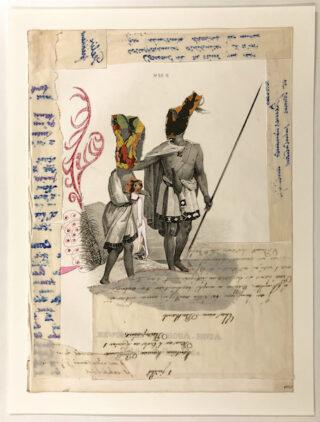 Marcel Miracle - Chasse au paons, 2018 - Collage et stylo bille sur papier