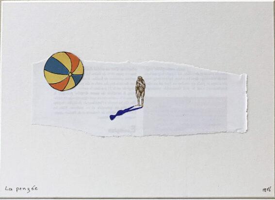 Marcel Miracle - La penzée, 2016 - Collage on paper, collage, 16,5 x 23 cm