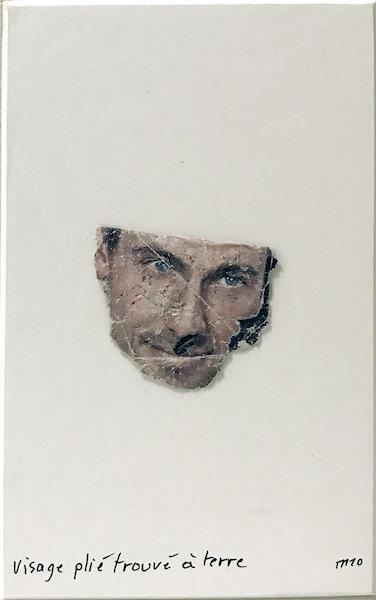 Marcel Miracle - Visage plié trouvé à terre, 2010 - Collage on cardboard, 15 x 9,5 cm