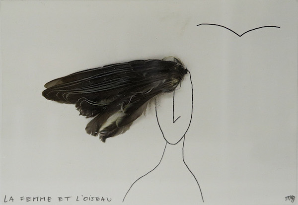 Marcel Miracle - La femme et l'oiseau, 1993 - Collage and pen on cardboard, 10 x 14,5 cm