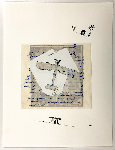 Marcel Miracle - Avion-totem, 2018 - Collage and pen on paper, 40 x 30 cm