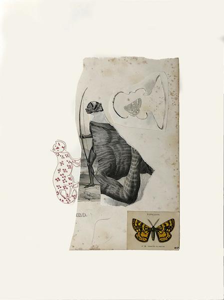 Marcel Miracle - Robe de la panthère, 2018 - Collages and pen on paper, 40 x 30 cm