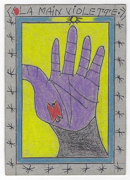 Frédéric Bruly Bouabré - La main violette, 2008 - Pencil and pen on cardboard, 15 x 10,5 cm