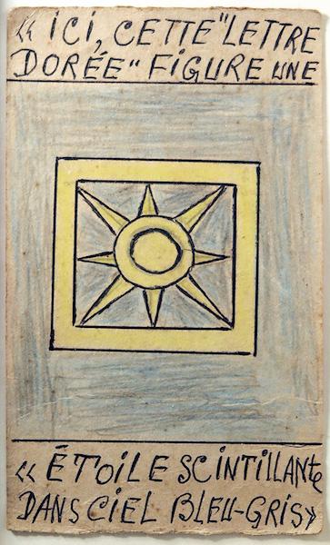 """Frédéric Bruly Bouabré - Ici cette """"lettre dorée"""" figure une """"étoile scintillante dans ciel bleu-gris"""", n.d. - Pencil and pen on cardboard, 17 x 10 cm"""