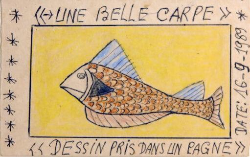 Frédéric Bruly Bouabré - Une belle carpe, dessin pris dans un pagne, 1989 - Pencil and pen on cardboard, 9,5 x 15 cm