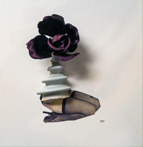 Marcel Miracle - Sans titre, 2018 - Ceramic, fabric flower, collage, 28 x 27 cm