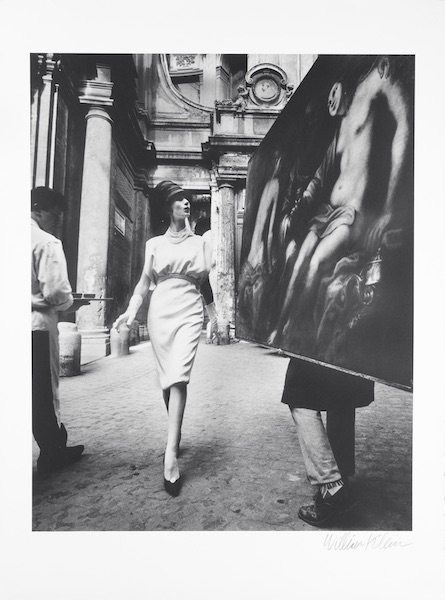 William Klein - Simone + Painting - Coffee, Rome (Vogue), 1960